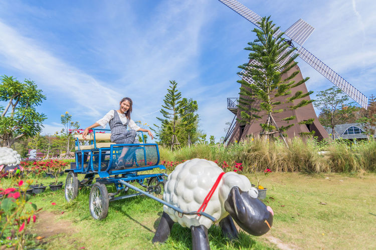 Woman sitting on cart with sheep structure on field against sky