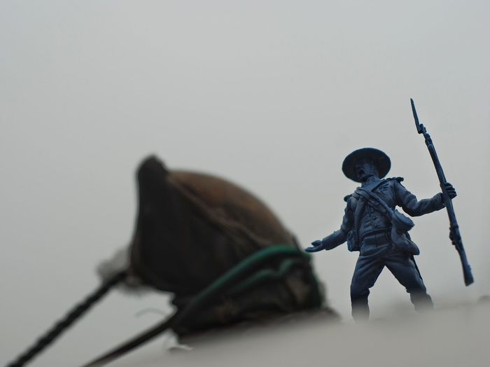 Close-up of toy soldier outdoors