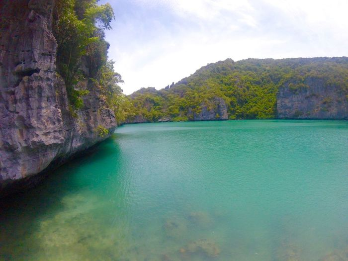 Emerald lake, AngThong national marine park, surathani, Thailand. Mountain Water Scenics Tranquil Scene Tranquility Waterfront Sea Sky Beauty In Nature Nature Green Color Blue Non-urban Scene Cliff Solitude No People Rock Formation Seascape Rocky Remote