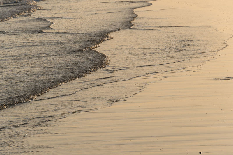 Waves reaching shore during sunset