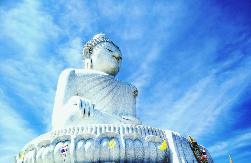 Big budha! Beautiful Clear Blue Sky Buddha Big Budha!!! Phuket Thailand Travel Travel Photography Explore Newplaces