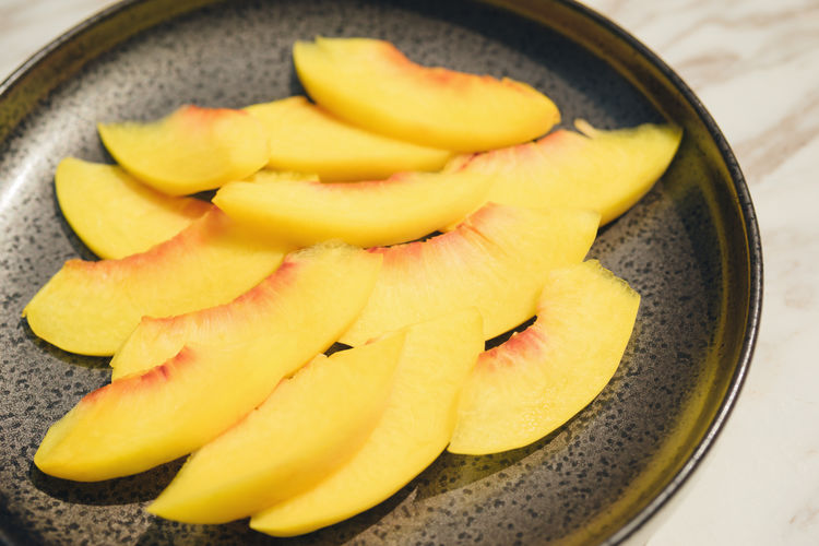 Dish Chopped Close-up Food Freshness Fruit High Angle View Kitchen Utensil Peach Ripe SLICE Yellow