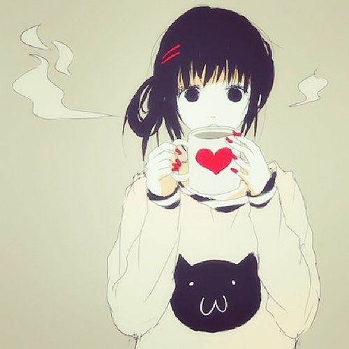 Goodmoring my loveys Anime Favim Manga Heart Kitty coffee morning