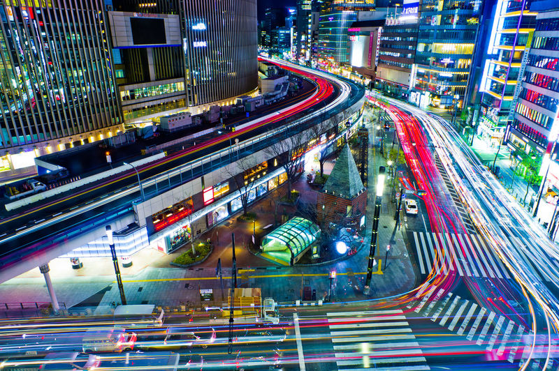 City Transportation Motion Architecture Illuminated Night Long Exposure Road City Life Speed Light Trail Blurred Motion Traffic Street High Angle View Mode Of Transportation Building Exterior City Street Built Structure Car Outdoors Office Building Exterior Cityscape Light Tokyo Night