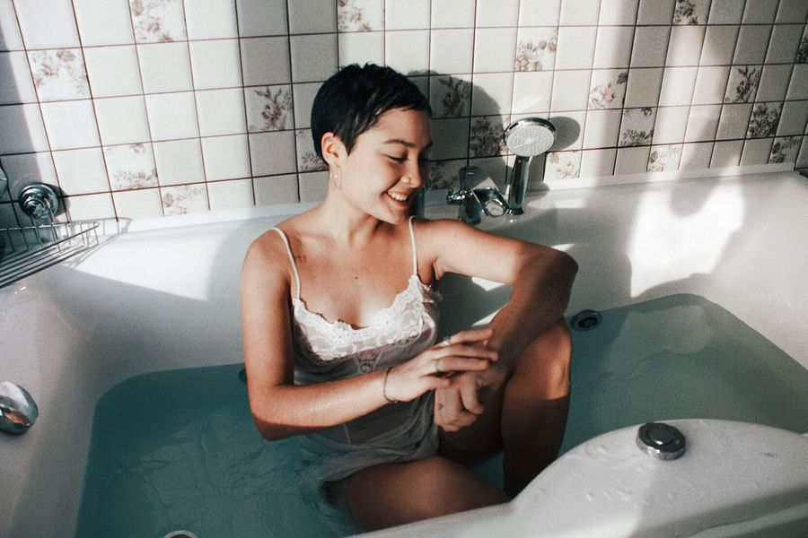 What Who Where Bathtub Bathroom Hygiene Domestic Bathroom Taking A Bath One Person Lifestyles Real People Wet Indoors  Cleaning Happiness Domestic Room Portrait Water Body Care Young Women Olivia_zakirova The Week On EyeEm Editor's Picks