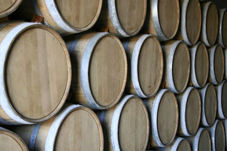 Barrels for aging wines and spirits close up view