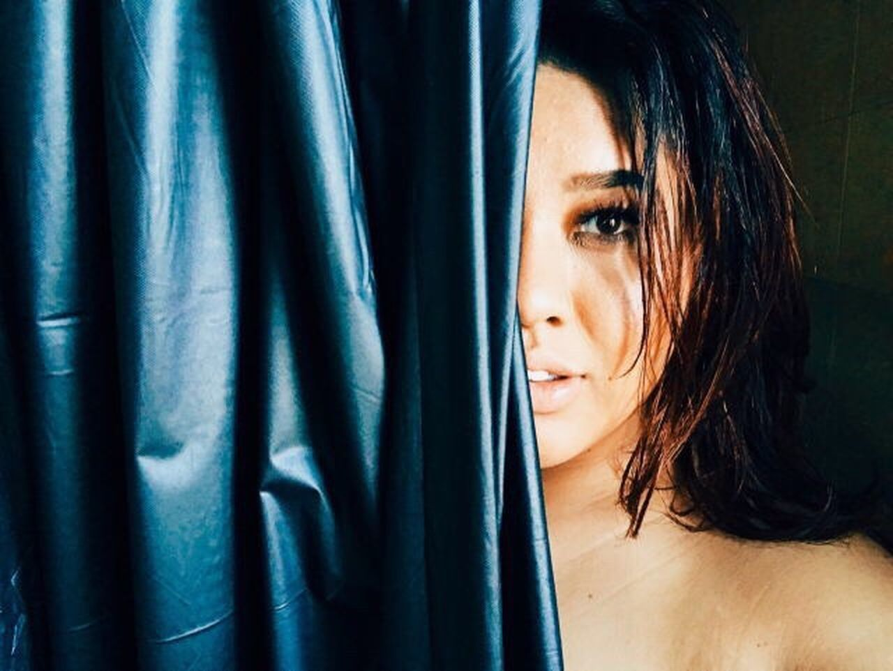 curtain, window, beautiful woman, one person, indoors, drapes, young adult, close-up, young women, beauty, only women, day, adult, adults only, people