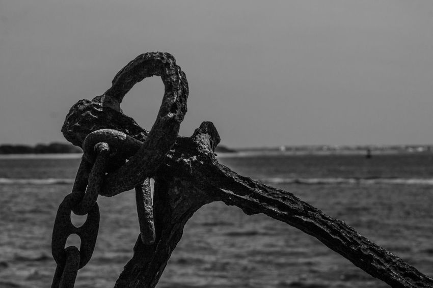 Old Anchor. Southport, NC Metal Security Water Focus On Foreground Chain Rusty Sea Strength No People Safety Padlock Anchor - Vessel Part Anchor Blackandwhite Outdoors Protection Close-up Lock Day Hanging Sky Nature