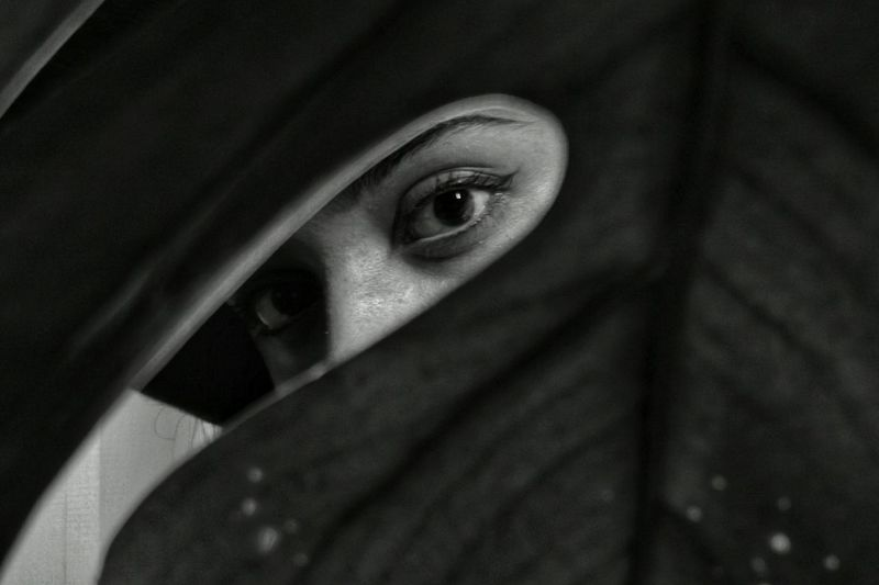 mobile photography Huaweip20 Mobilephotography Monochrome Portrait Human Face Looking At Camera Black Background Eyelash Close-up International Women's Day 2019