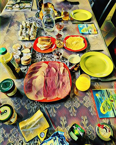 Saturday brunch. Good week end to all of you ! Art Table Multi Colored Variation High Angle View Plate Close-up Food And Drink