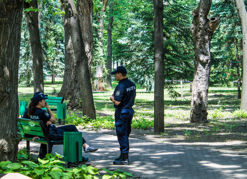 Lawn Nature Park People Police Tree