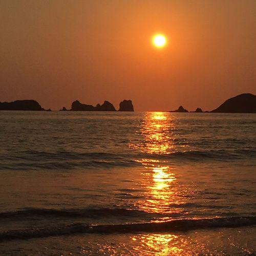 Ixtapa Ixtapa Beach Water Sea Sunset Sky Scenics - Nature Beauty In Nature Beach Tranquility Land Tranquil Scene Sunlight Orange Color