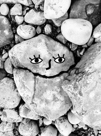 Rock - Object No People Full Frame Nature Outdoors Day Close-up Face Stone Still Life Cracked Split Graffiti Rocks Seascape Pebbles Eyes SpurOfTheMoment