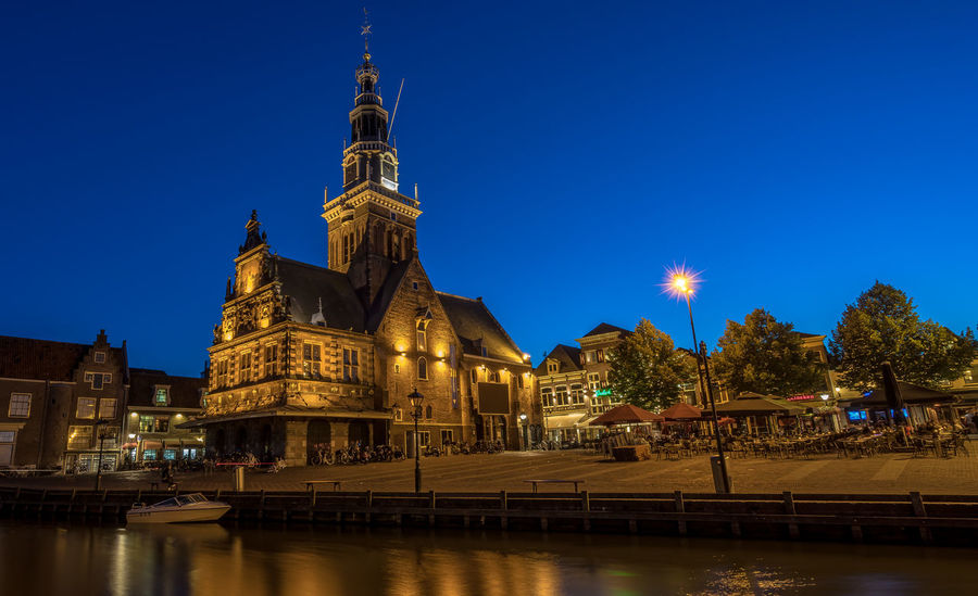 Alkmaar Architecture Blue Building Exterior Built Structure Canal Capital Cities  City De Waag Dome Famous Place History Illuminated No People Outdoors River Sky The Netherlands Tourism Travel Destinations Water