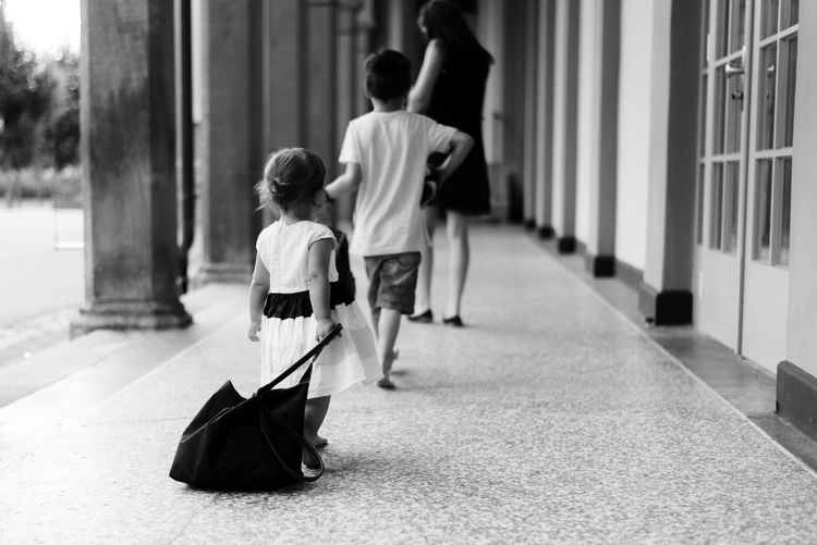 Adult Black & White Black And White Blackandwhite Child Childhood Clean Cute Day Full Length Leaving People Real People Three People Togetherness Walking Walking Around This Is Family