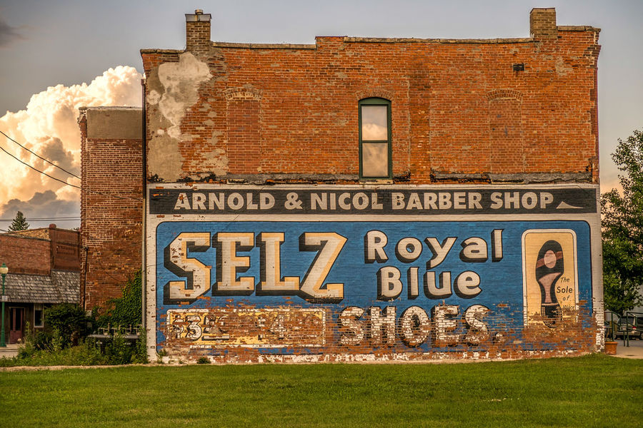 SELZ SHOES GHOST SIGN Ghost Signs  Architecture Brick Wall Built Structure Day Exterior Façade Grass Grassy Green Color Information Information Sign Nature No People Outdoors Plant Sky