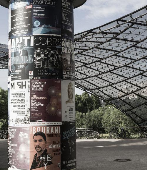 Architecture City Information Sign Litfaßsäule Munich No People Olympiaparkmünchen Olympic Park