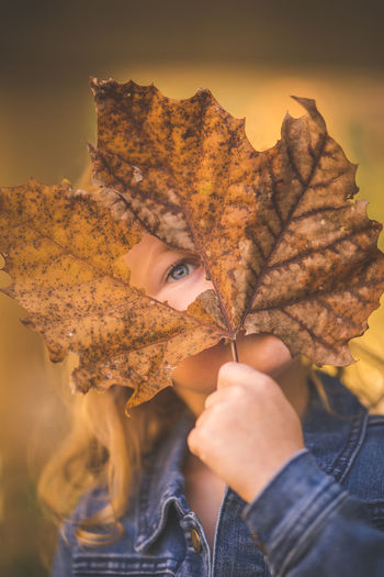 One Person Autumn Plant Part Leaf Real People Lifestyles Change Holding Young Adult Leisure Activity Portrait Front View Headshot Young Women Nature Adult Focus On Foreground Women Body Part Human Face Leaves Beautiful Woman Maple Leaf