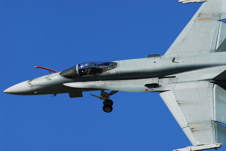 Dirty Pass Australia RAAF Air Vehicle Airplane Airplane Wing Blue Clear Sky Day F/a-18 Hornet Fighter Fighter Jet Flying Low Angle View Mid-air Mode Of Transport Nature No People Outdoors Sky Transportation