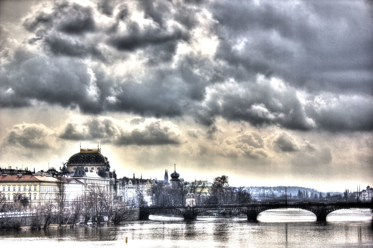 architecture, built structure, cloud - sky, sky, river, bridge - man made structure, building exterior, connection, water, travel destinations, no people, outdoors, waterfront, day, city, dome, cityscape, nature, tree, chain bridge