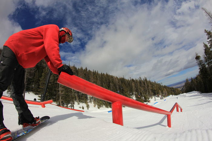 Amped Bench Cloud - Sky Courage Day Full Length Leisure Activity Lifestyles Mountain Nature Rear View Red Scenics Sitting Sky Snow Snow Covered Snowboard Snowboarder Snowboarding Terrain Park Tranquil Scene Tranquility Weather Winter Snow Sports Be. Ready.
