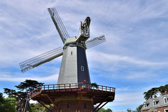 Murphy Windmill @ Golden Gate Park 1 San Francisco CA🇺🇸 South Windmill Built 1908 Golden Gate Bridge Western Edge 114 Ft. Sails Murphy Windmill 30,000 Gallons Per Hour 75 Ft Tall Cost $20,000 To Built Landscape Irrigated The Park Former Sand Dunes Millwright's Cottage Buit 1909 Caretakers House Landscape_Collection Landscape_photography Cypress Trees  Sky And Clouds 1913 Replaced By Electric Pumps Fell Into Disrepair Restored 2009
