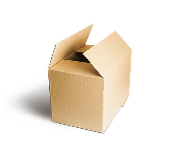 Cardboard Box Open. Isolated On White Background