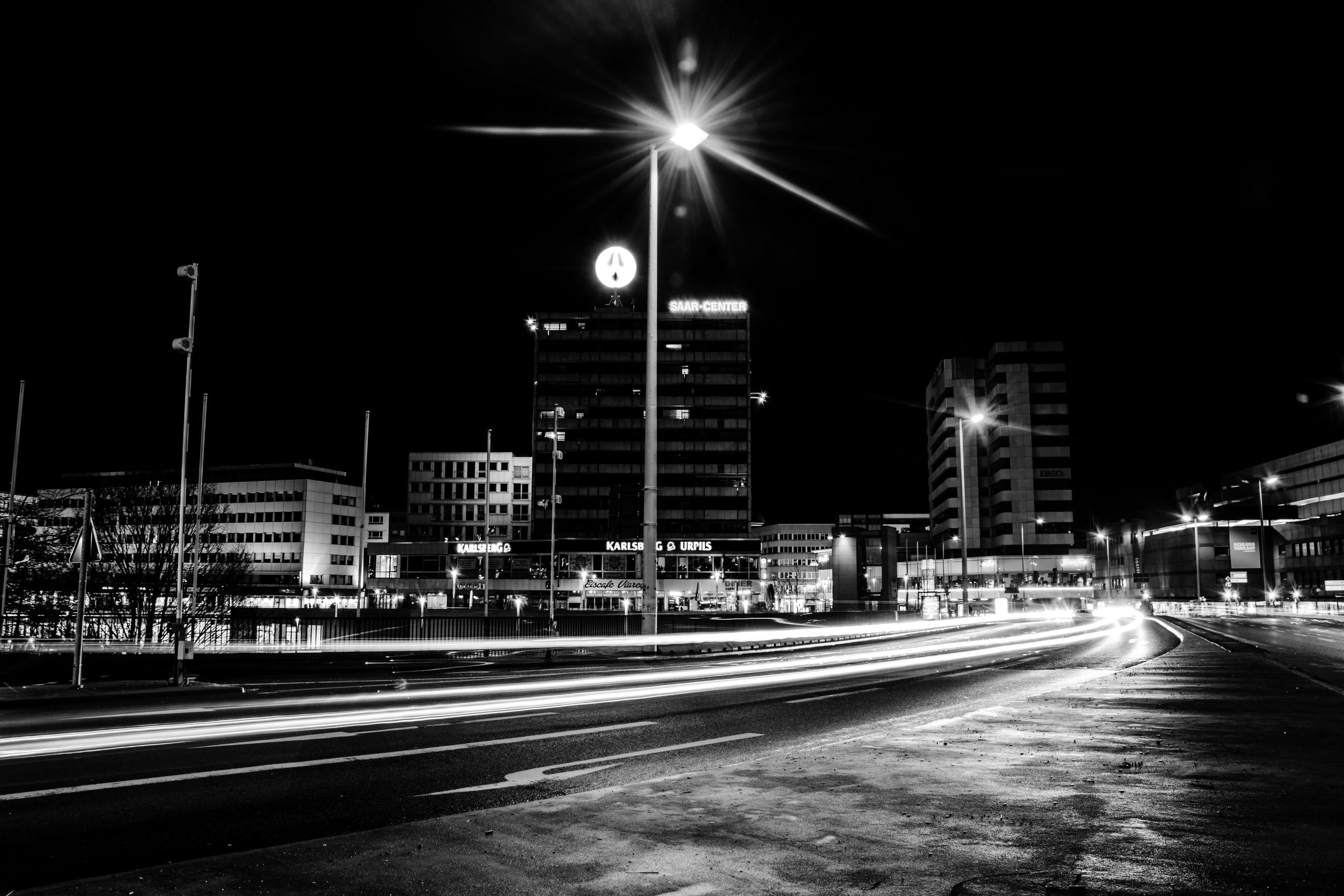 LIGHT TRAILS ON CITY STREET