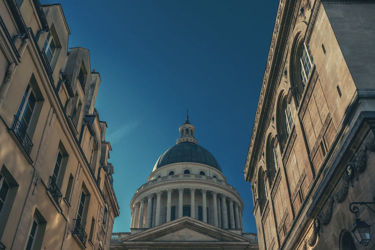 Building Exterior Architecture Built Structure Building Sky Low Angle View Spirituality Religion Place Of Worship Dome No People Belief Nature Clear Sky The Past History Day City Outdoors Architectural Column Pantheon Paris Streetphotography Street Photography Sunny