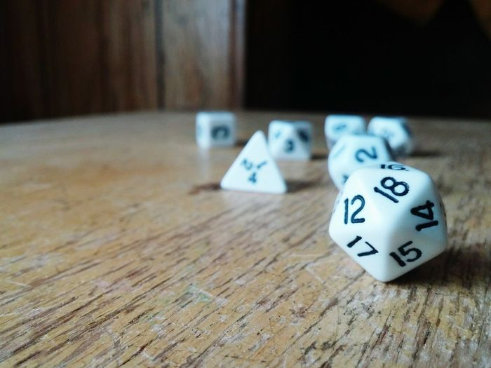 Close-up of numbered cubes on table