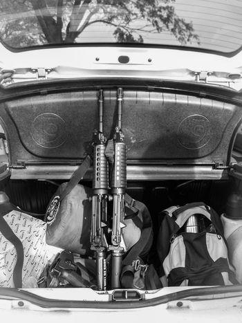 Carmen De Areco Argentina Guns Car Trunk Black And White Pocket Camera