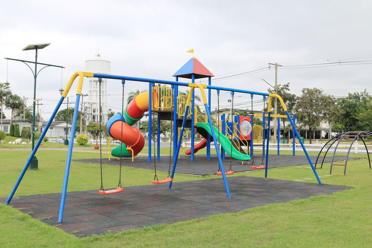 View of swing in playground