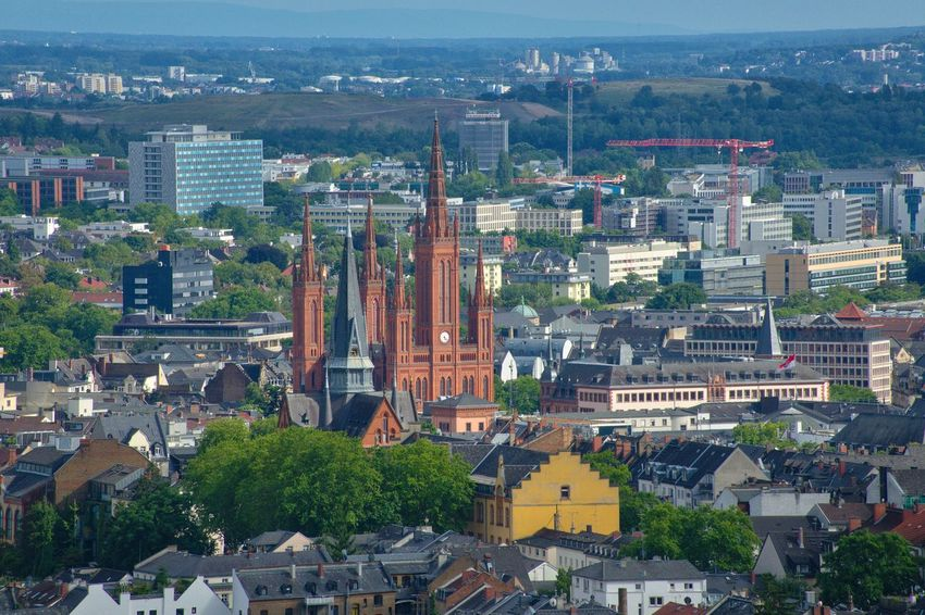 Wiesbaden Panoramic View Architecture Cityscape Built Structure Building Exterior City Travel Destinations High Angle View Aerial View Day Place Of Worship Roof Outdoors No People Tree Urban Skyline Politics And Government Nature Sky Marktkirche AMP PICTURES