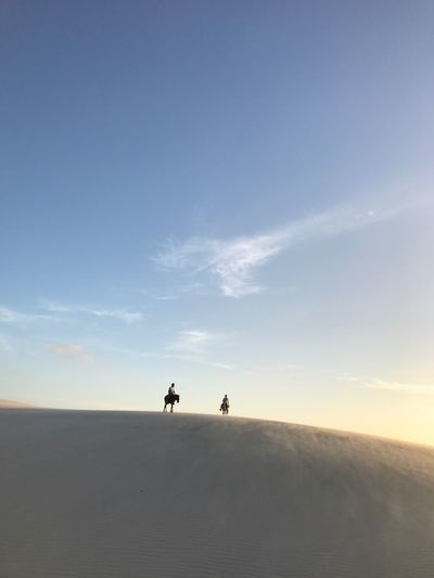 Sky Real People Silhouette Nature Landscape Tranquil Scene Cloud - Sky Two People Men Walking Scenics Togetherness Outdoors Tranquility Beauty In Nature Leisure Activity Lifestyles Day Desert Full Length Moon The Week On EyeEm