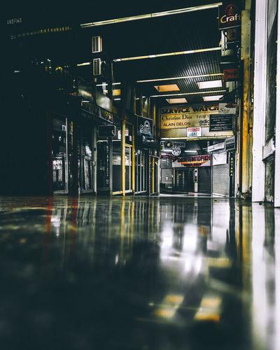 Surface level of illuminated underground walkway