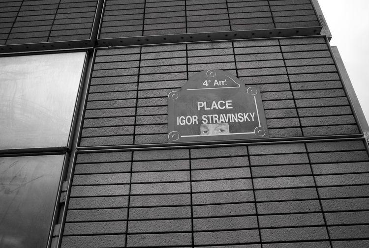 Igor Stravinsky Paris Street Sign Reportage Monochrome Street Art/Graffiti