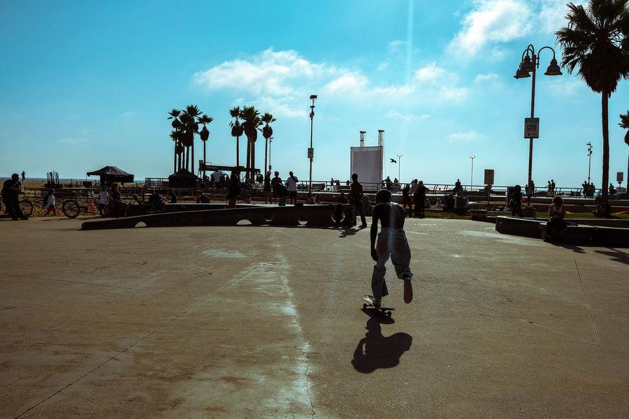 Skate Park Beach Vibes Skate Park Skateboarding Skater Palm Tree Beach Sand Sky Cloud - Sky Shore Sandy Beach Ocean