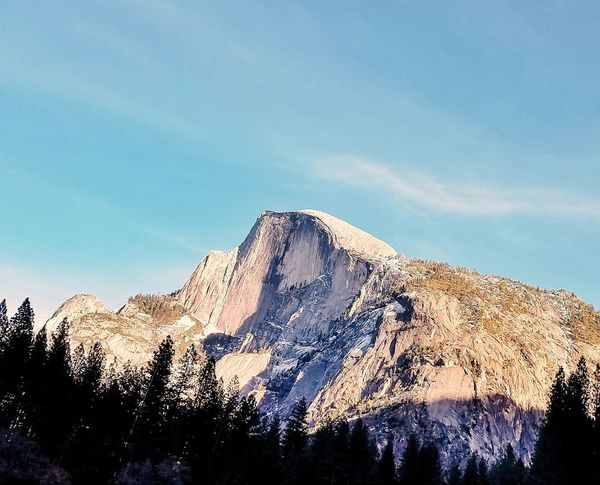 that beautiful time of day when the earth turns pink and orange. Half Dome magic Optoutside Yosemite National Park Half Dome Half Dome Sunset EyeEm Selects Mountain Sky No People Nature Day Outdoors Beauty In Nature