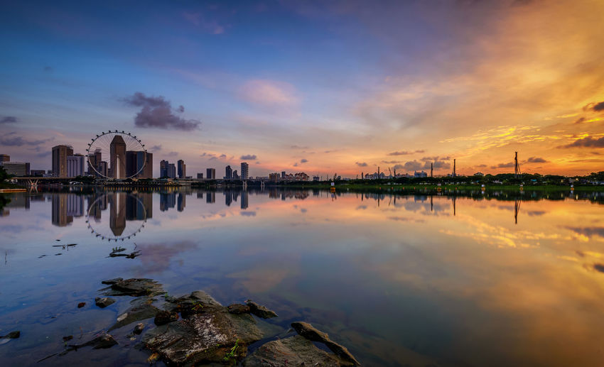 Architecture Beauty In Nature Building Exterior Built Structure City Cityscape Cloud - Sky Dawn Day Landscape Nature No People Outdoors Panoramic Photography Reflection Singapore Singapore City Singapore Flyer Sky Sunrise Travel Destinations Water