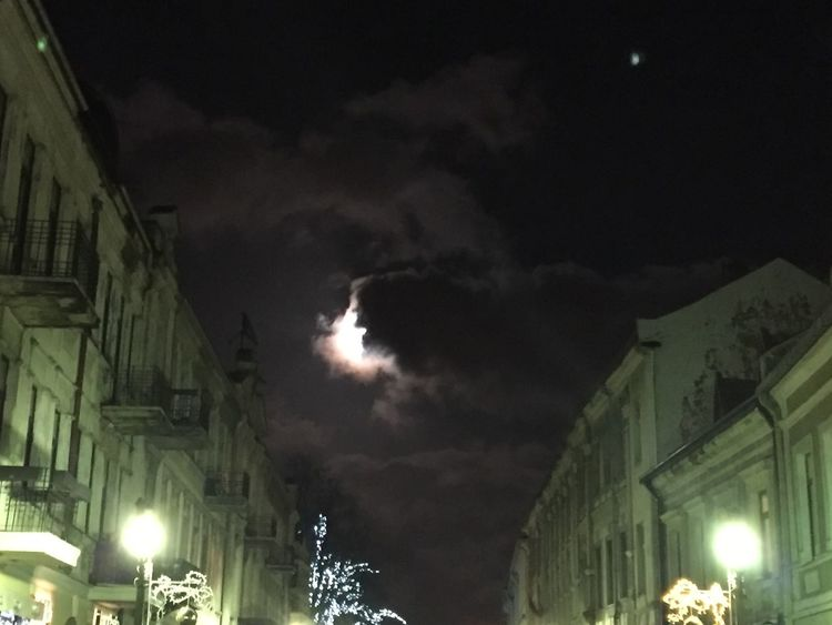 """the cloud is going to eat the the moon"" The photo was taken in the Old Town in Kaunas, Lithuania. Very unique place! My home town. Oldtown Cloudy"