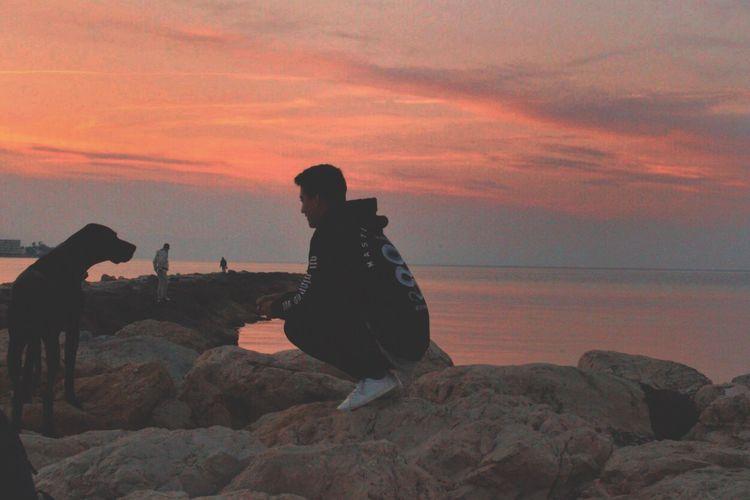 Raw moments ❤️ Sunset Puppy Sea Beach Cristian Rios First Eyeem Photo