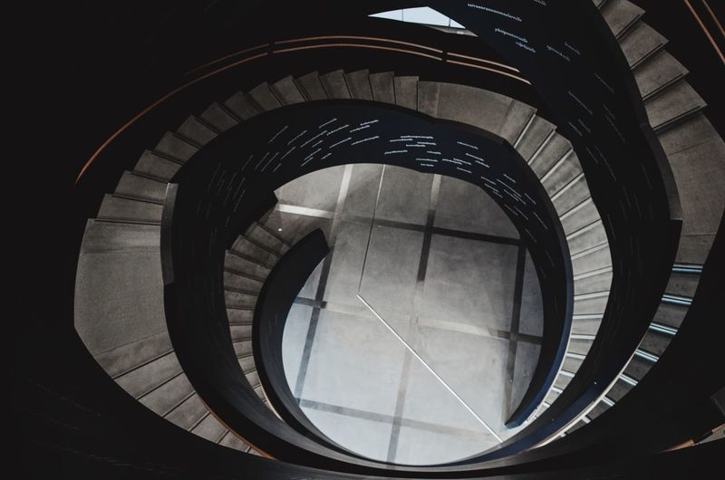 Architecture Built Structure Staircase Spiral Steps And Staircases Spiral Staircase No People Design Circle Sunlight Geometric Shape Shape Indoors  Railing Pattern Day Building High Angle View Concentric