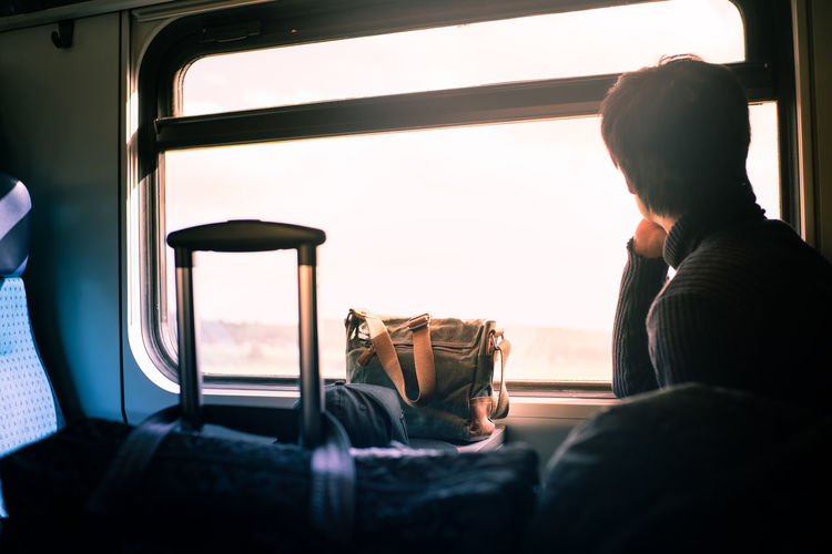 Man sitting in train