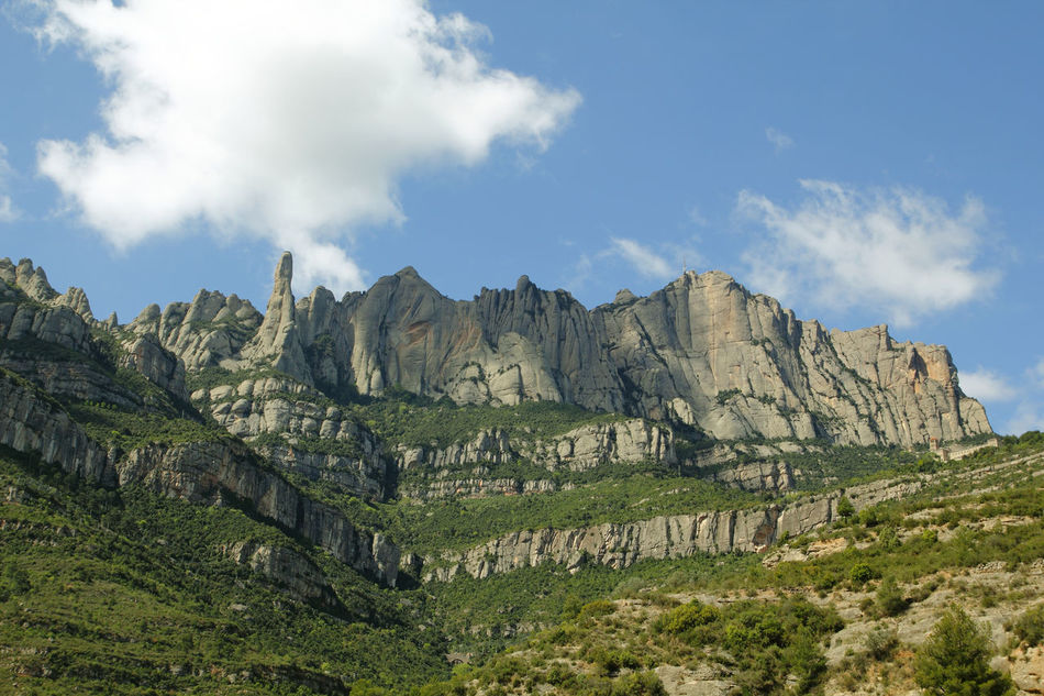 Montserrat mountains in Catalonia, Spain Barcelona Catalonia Catalunya Cloud Faith Famous Place Geology Idyllic Karstic Landmark Landscape Montserrat Mountain Mountains Non-urban Scene Outdoors Rock Formation Rocks Scenics Sky SPAIN Stone Tranquil Scene Tranquility Travel Destinations