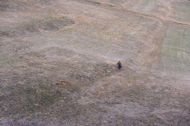 Walking Alone Field Automn Engadin Thaking Photos Switzerland OneYearAgo