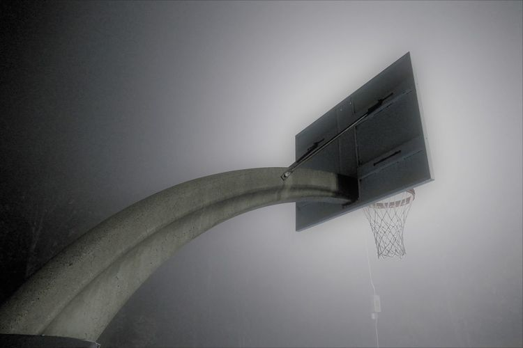 NIGHT TIME BASKETBALL Night Time Photography All Net Architecture Backstop Basketball At Night Basketball Net  Basketball Net  Basketball Rim Built Structure Concrete Basketball Base Fog Modern No People Outdoors