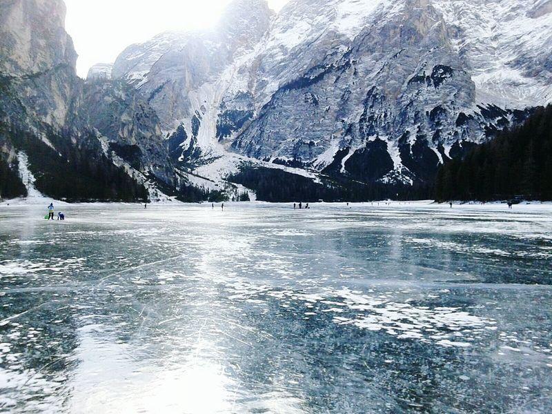 Frozen Lake Nature Outdoors Winter Wonderland Lago Di Braies (Pragser Wildsee) Landscape Mountain Range Dolomites, Italy Water Winter Resist The Great Outdoors - 2017 EyeEm Awards Shades Of Winter