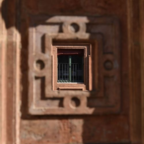 Directly below shot of window on building
