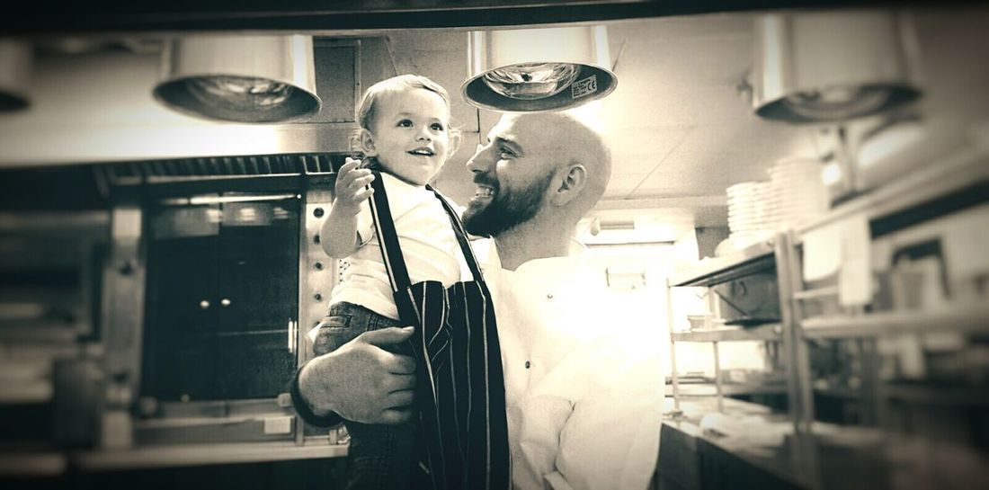 The work life balance Prideandjoy Modern Father Father & Son Hanging Out That's Me Thats My Boy  Wonder Happiness Work Life Balance Happy People Like Father Like Son Footsteps Happy HappyBoy Chef Kitchen Life EyeEmNewHere The Week On EyeEm Love Pride And Joy This Is Masculinity