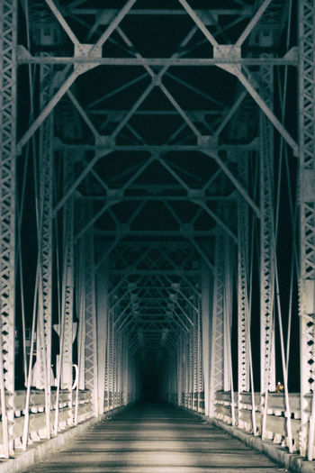 The closed railway bridge was filmed with a spooky atmosphere.